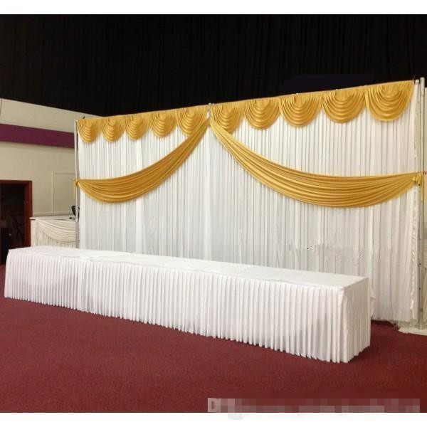 White Ice Silk Wedding Backdrop Curtains Simple Design Swag Satin