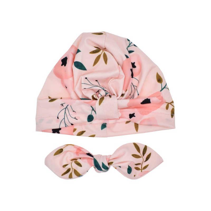 Милая мягкая хлопковая шапка-тюрбан с заячьими ушками и бантиком для новорожденных и малышей, шапка с индийским цветком, аксессуары для малышей