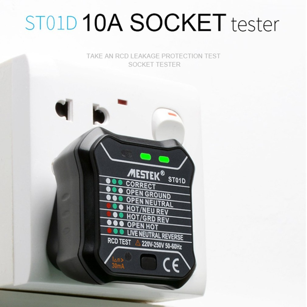 EU/UK Socket Outlet Tester Circuit Polarity Voltage Detector LED indication Wall Plug Tester Breaker Finder RCD Test 220V~250VEU/UK Socket Outlet Tester Circuit Polarity Voltage Detector LED indication Wall Plug Tester Breaker Finder RCD Test 220V~250V