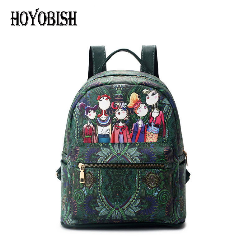 HOYOBISH Embossing Pattern Pu Leather Women Backpack Individuality School Bags For Teenagers High Quality Girls Travel Bag OH019 2017 new high quality shoulders bag pu leather women backpack casual school bags for teenagers girls travel backpacks