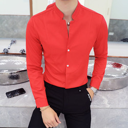 Fall Winter Stand Collar Mens Long-sleeved Dress Shirts Black Red White Slim Elegant Youth Male Business Wedding Formal Shirt 3
