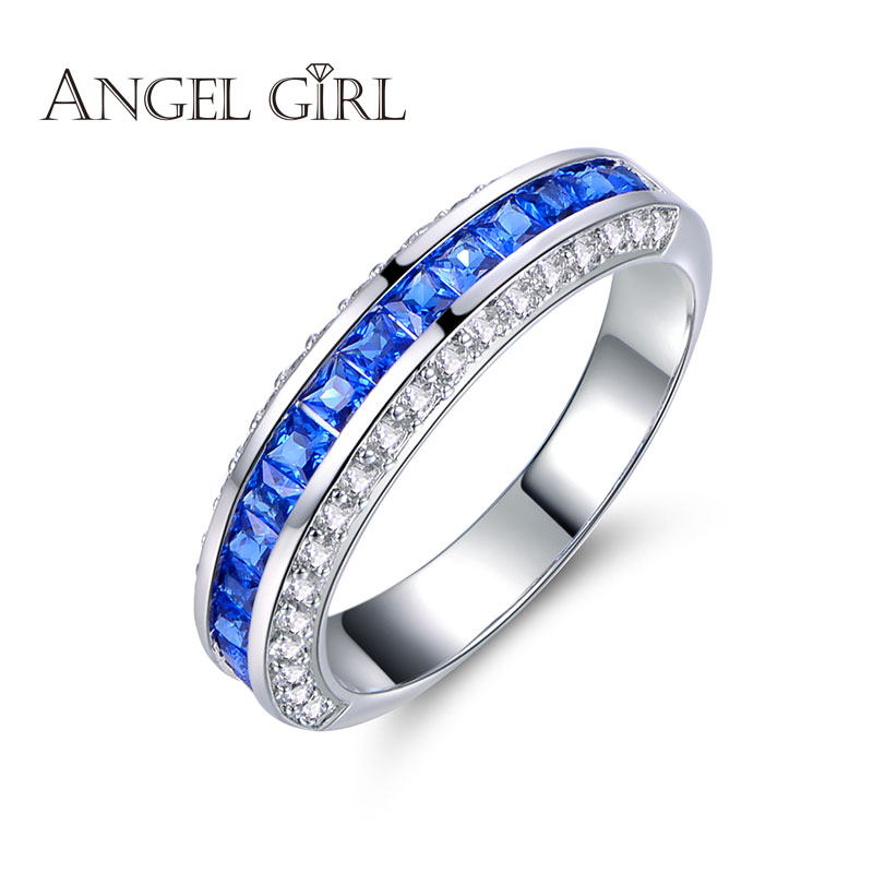 Ange Fille 2016 nouveau Cadeau Princesse Cut Carré AAA + Bleu clair CZ Or  Blanc couleur de mariage bague de Fiançailles Femmes anneaux c21aaa304ebc