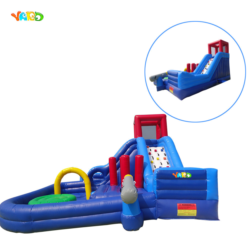Inflatable water slide swimming pool water park playground with pool children shark blue inflatable water slide with blower for pool