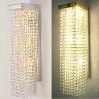 Parlor Wall mounted Long rectangle crystal light wall lamps hall LED indoor wall light bathroom mirror light led home lighting