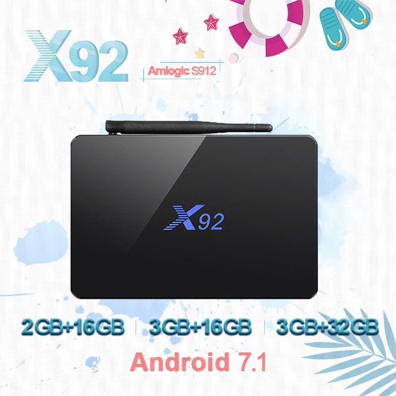 X92 Smart TV Box Android 7.1 2 gb 3 gb 16 gb 32 gb CPU 5g Bluetooth H.265 avec USB 2.0 set Top Box