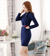 New Professional Formal Novelty Red Fashion Long Sleeve Spring Fall Dresses For Ladies Work Wear Vestidos Casual Tops With Belt