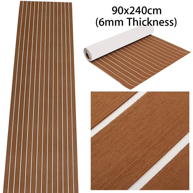 Self Adhesive EVA Foam Teak Sheet Dark Brown Boat Yacht Synthetic Decking 0.6cm 90x240cm Foam Floor Mat Brown With White Strips