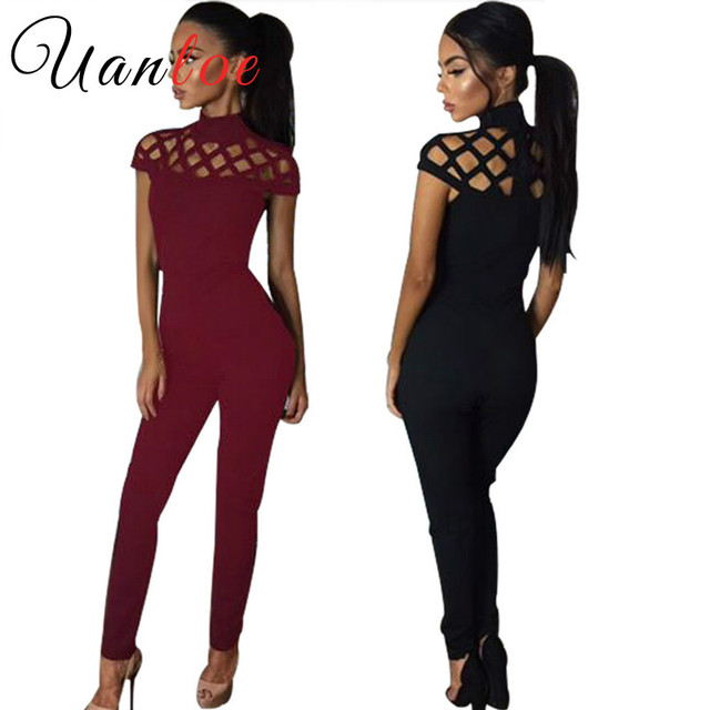 6712b4715945 UANLOE Hollow Out Jumpsuit 2017 Women Turtleneck Short Sleeve Holes Tight  Romper Overalls Sexy Club Party