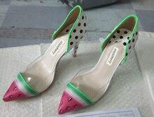 2017 Unique Gladiator Sandals Women Sexy Wedding Shoes Woman Watermelon Print High Heels Summer Rome Sandal Pumps