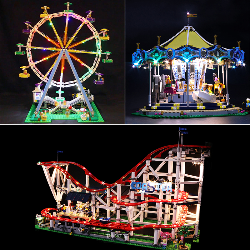 Led Light For Lego Roller coaster Street Carousel 10257 10261 10247city creator Building Blocks compatible 15039 15037 15012Led Light For Lego Roller coaster Street Carousel 10257 10261 10247city creator Building Blocks compatible 15039 15037 15012