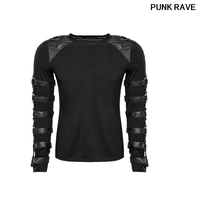Gothic Rock O Neck Personality Men's black T shirt Steampunk Iron Man Motocycle Casual street cool T Shirt Top Punk Rave T 457
