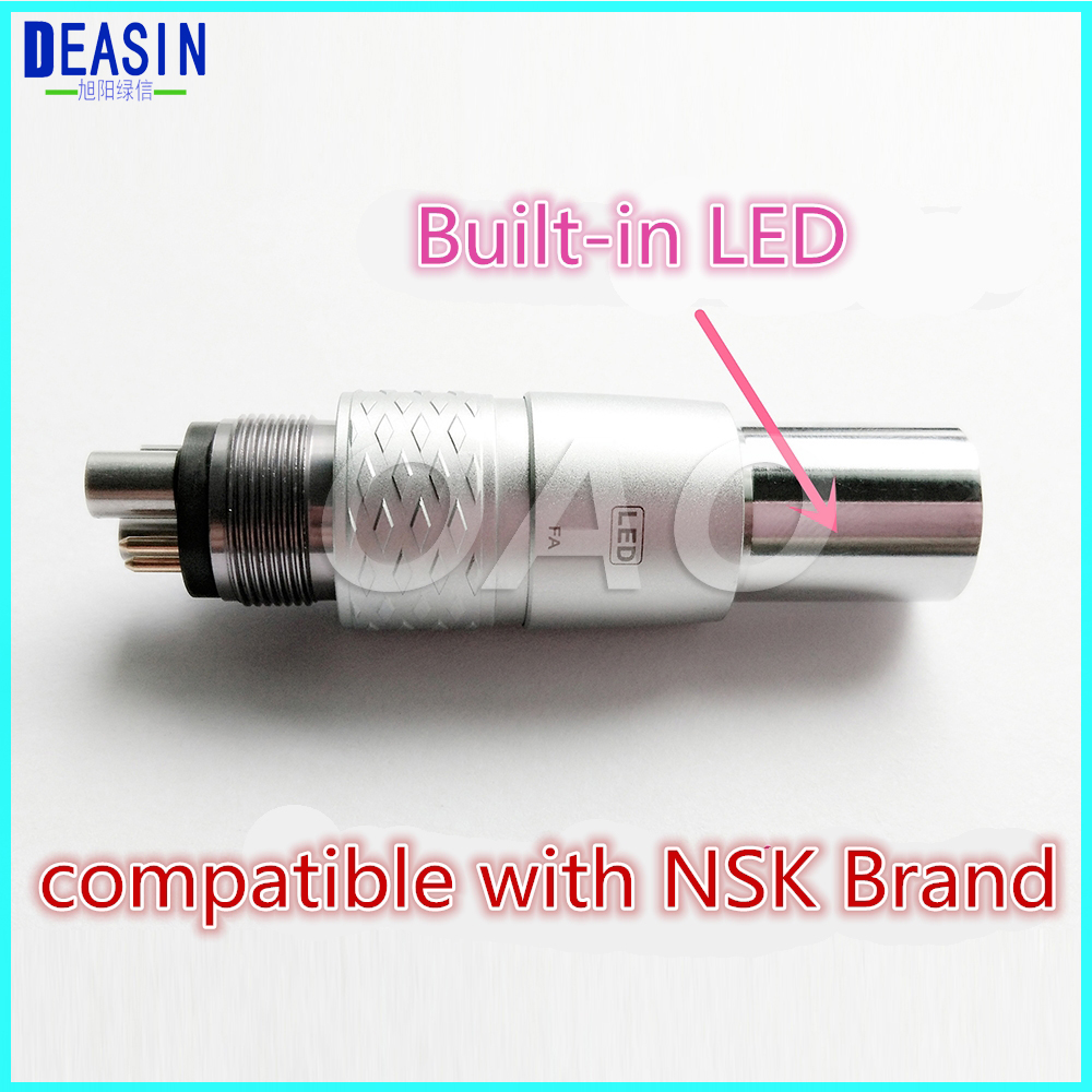 Free shipping NSK Ti-MAX handpiece 6-Pin Fiber Optic LED COUPLING Coupler ,NSK fiber optic adaptor 6 holes куплю e турбинный наконечник nsk