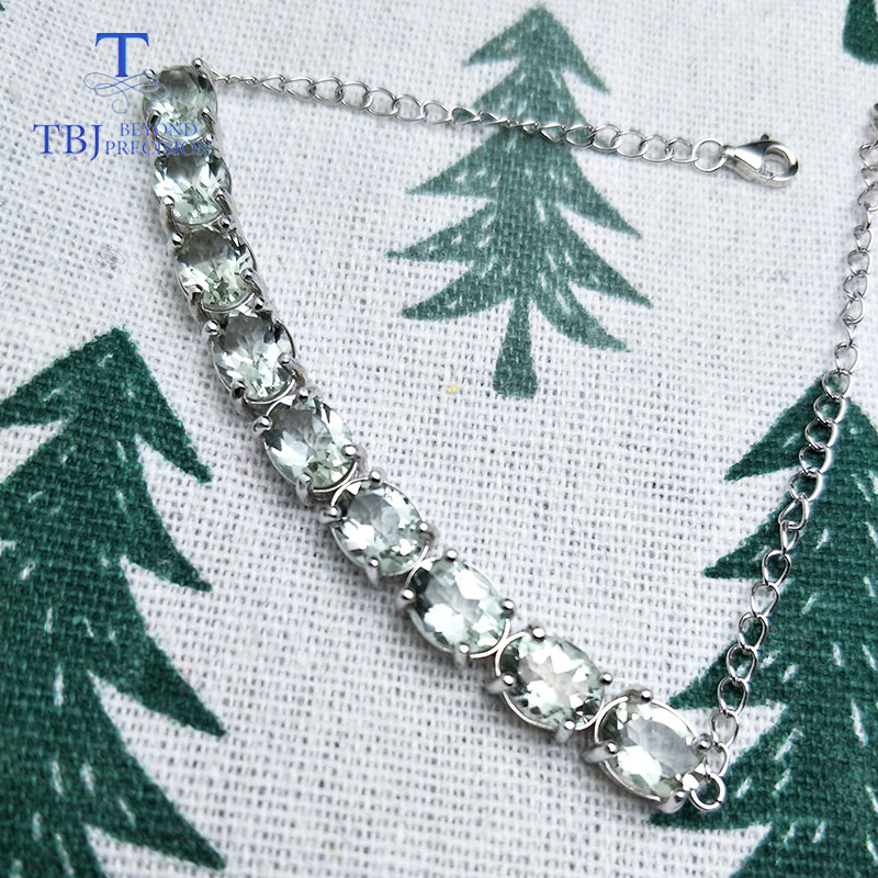 TBJ,100%Natural green amethyst oval 6*8mm 925 Sterling silver simply style bracelet fine jewelry best valentine for woman gift