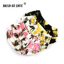 Летние модные шорты для маленьких девочек, Детские Гофрированные шаровары для новорожденных, шорты с цветочным рисунком для девочек, одежда для малышей, штаны, подгузники