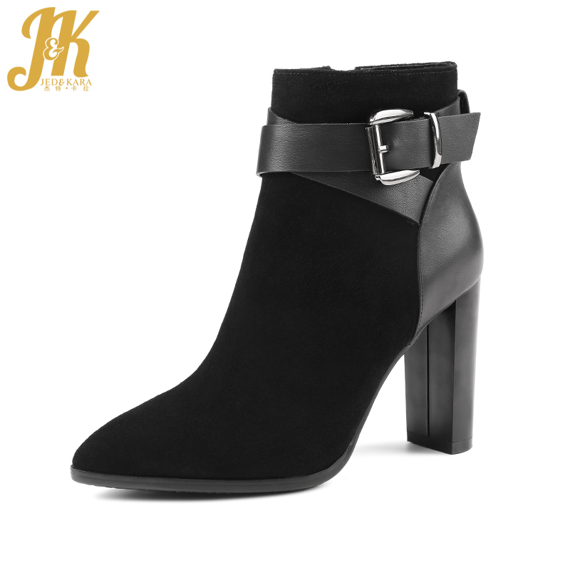 J&K Brand Show Buckle Strap Ankle Boots 2017 New Style Winter Boots Made Of Genuine Leather Suede Women Shoes Sexy High Heel Zip for free post shading welding mask welder helmet chrome brushed 15 years only do the welding machine helmet