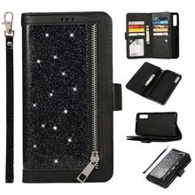 Glitter Caso Carteira Para Samsung Galaxy A6 A7 2018 J4 J6 Plus Zíper Magnético Da Capa do Livro Flip Para A750 J330 j530 UE Telefone Capa