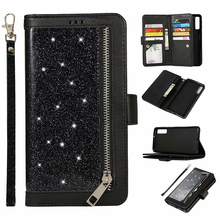 Glitter Wallet Case For Samsung Galaxy A6 A7 2018 J4 J6 Plus Zipper Magnetic Book Flip Cover For A750 J330 J530 EU Phone Capa