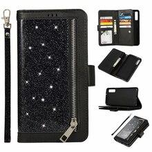 Блестящий чехол бумажник для Samsung Galaxy A6 A7 2018 J4 J6 Plus, Магнитный чехол книжка на молнии для A750 J330 J530, чехол для телефона EU
