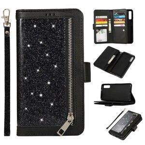 Image 1 - Étui portefeuille paillettes pour Samsung Galaxy A6 A7 2018 J4 J6 Plus fermeture à glissière magnétique livre couverture rabattable pour A750 J330 J530 EU téléphone Capa