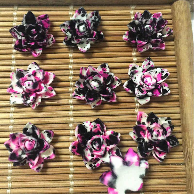 50 pcs de Resina de lótus flores Apliques flatback Para telefone artesanato casamento LH-11