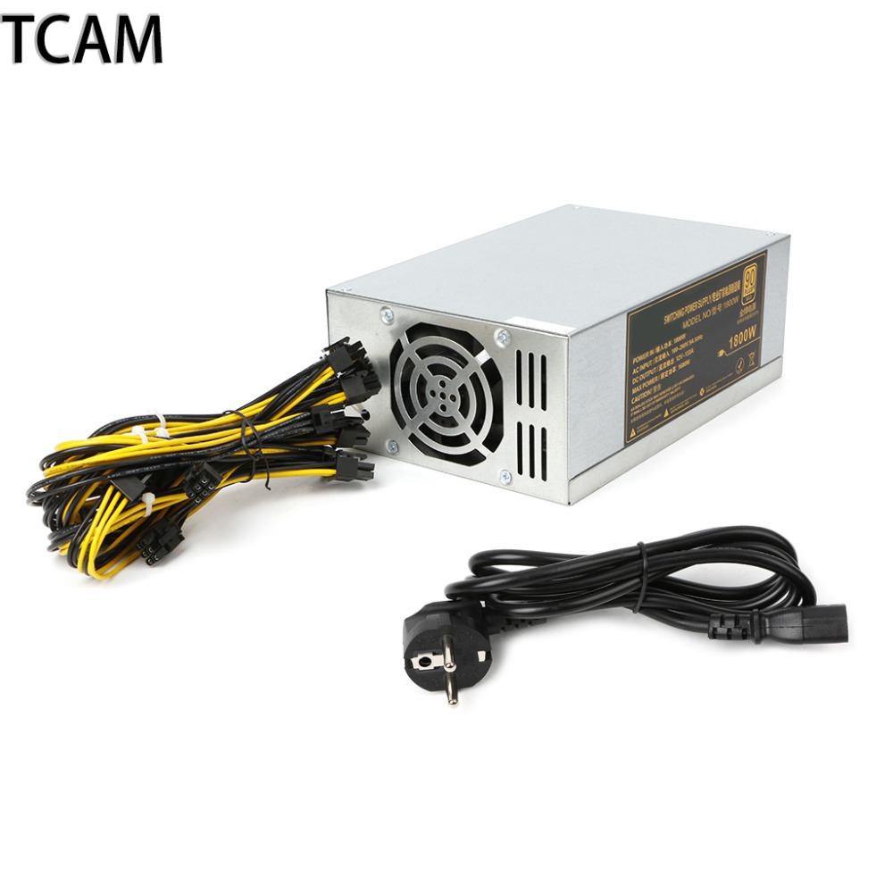 TCAM 1800W Power Supply 6PIN*11 APW3++-12-1600 ETH PSU EU Plug For Antminer S9 S7 L3 BTC LTC DASH Miner yunhui dash miner antminer d3 17gh s 1200w on wall no power supply bitmain x11 dash mining machine can miner btc on nicehash
