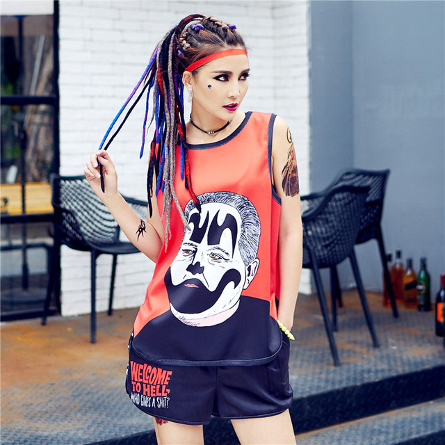 just.be.never harajuku kawaii vest pole shorts suit women tracksuit korean  two pieces sets hippie summer cute tops red black 67d3236bd796