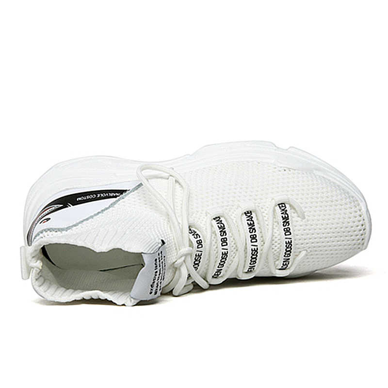 8408e152a506 High Top Men Women Sneakers 5 Cm Thick Sole Sock Shoes Knit Vamp Breathable  Dad Sneaker Shoes White Black Hidden Heel Shoe Mujer