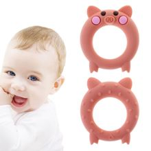 Baby Teether Food Grade Silicone Cartoon Pig Teething Oral Care Newborn Pacifier Soother Chew Toys DIY Necklace Pain Relief 0 3y silicone transparent infant pacifier newborn soother teether silicone pacifier care feeding food grade silicone with box