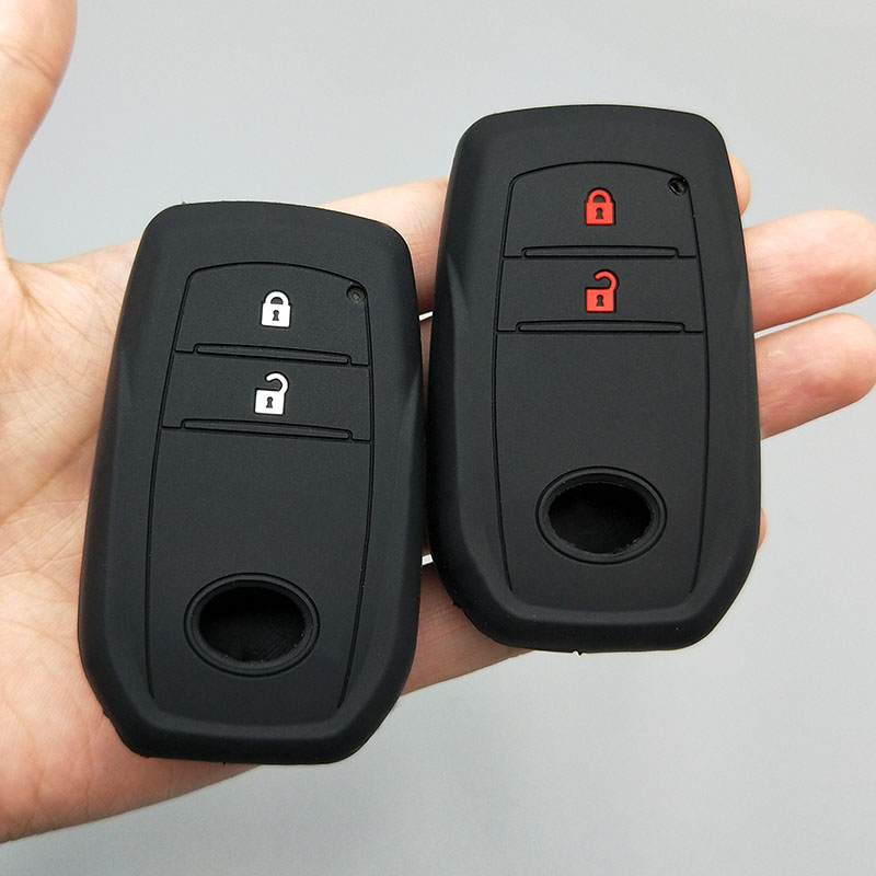 Silicone car <font><b>key</b></font> fob <font><b>cover</b></font> case shell sticker skin protect for <font><b>Toyota</b></font> <font><b>86</b></font> Hilux 2016 Innova ZELAS Fortuner remote keyless Holder image