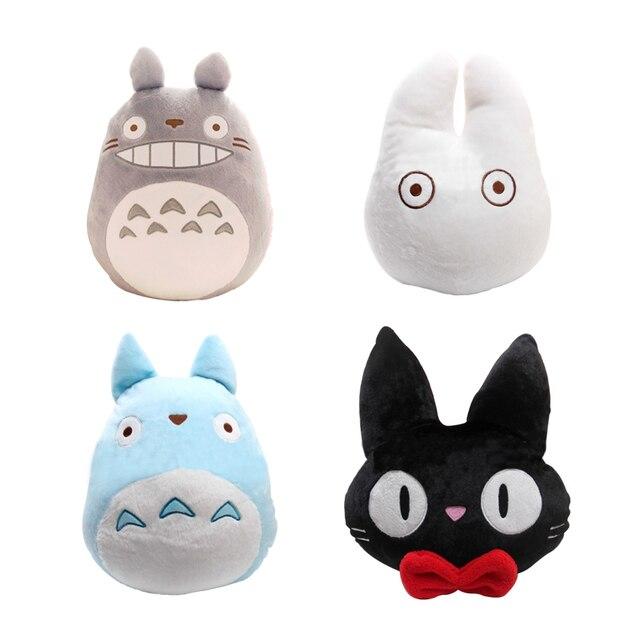 1pcs Japan Anime TOTORO Pillow Cushion Stuffed Plush Toys Cartoon White Totoro Black Cat Pillows