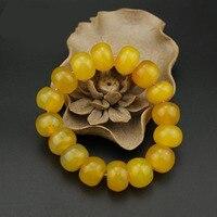 צהוב טבעי אבן/חרוזים צמיד 16 מ