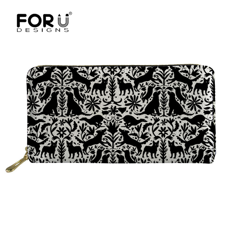 FORUDESIGNS Dog Otomi Print Long Ladies Slim Wallet Vintage Clutch Bag Purses Money Bag Coin Pocket Card Holder Portomonee 2019