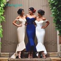 Chengjun с открытыми плечами высокие Длинные атласные Русалка Королевский голубое платье для подружки невесты для Для женщин
