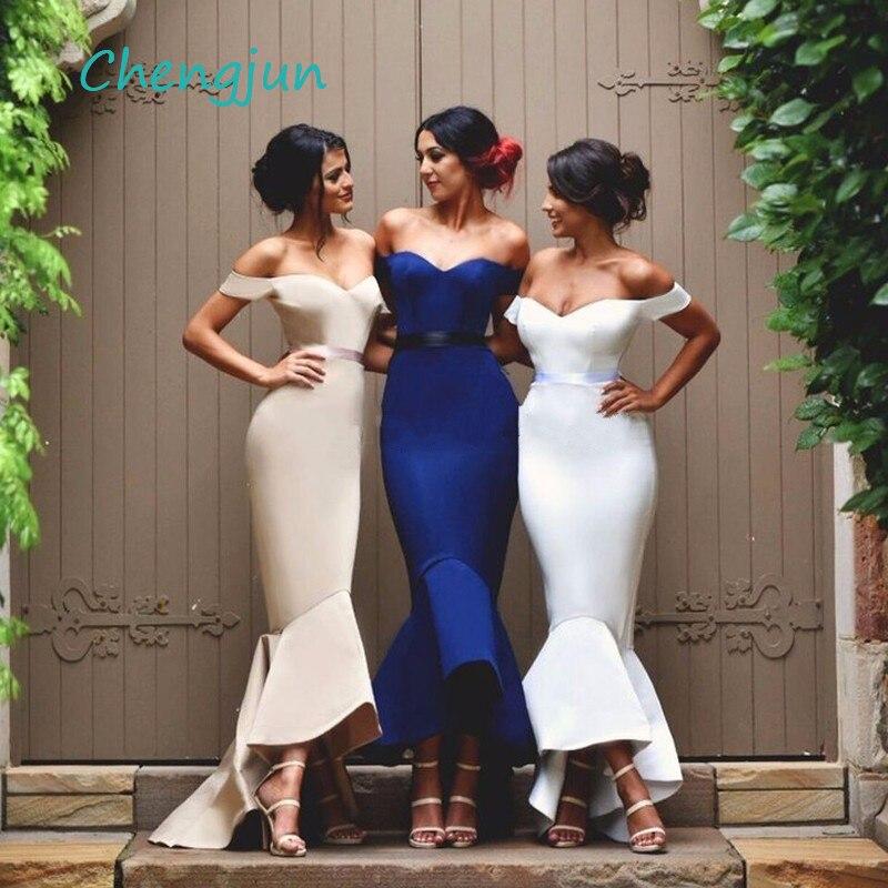 Chengjun Off Shoulder High Low Satin Mermaid Royal Blue   Bridesmaid     Dresses   For Women