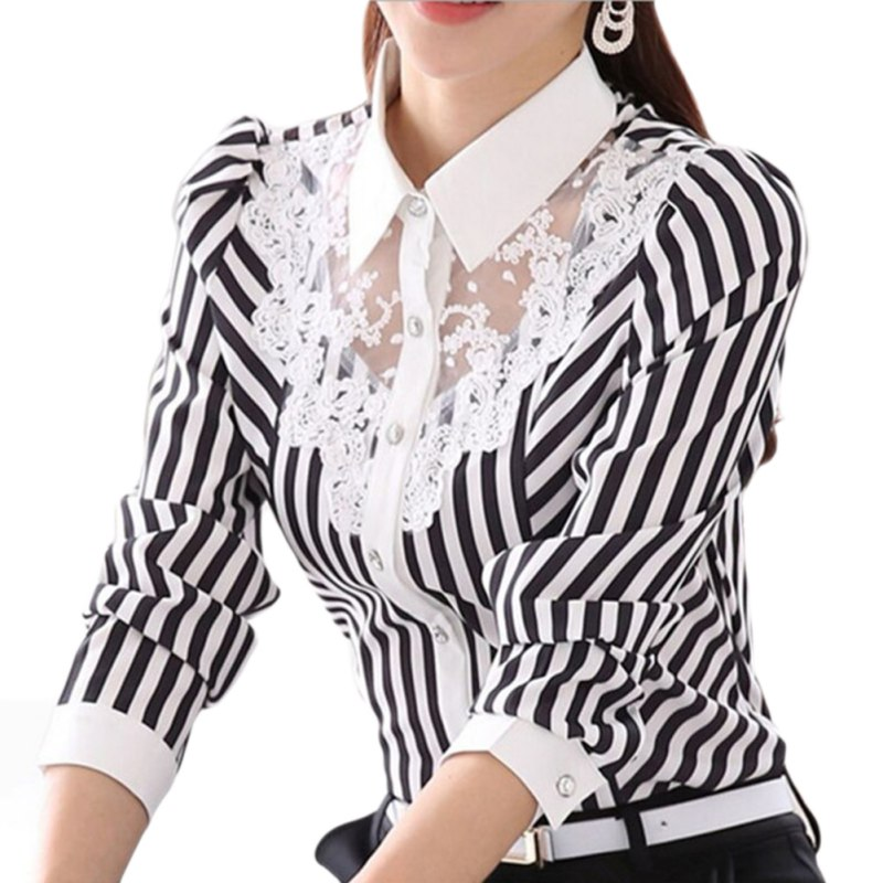 Women Long Sleeve Lace Tops Striped   Blouse   Official Female   Shirt   Women Turn-Down Collar   Blouses   Formal   Blouse   Spring Autumn
