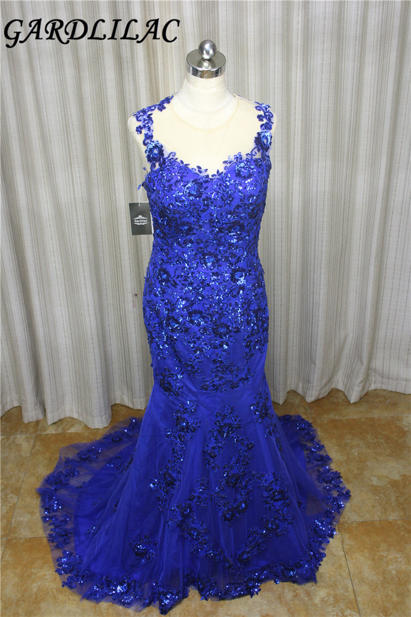 Gardlilac Lace V-neck Royal Blue Prom Dress 2017 Backless Sleeveless ...