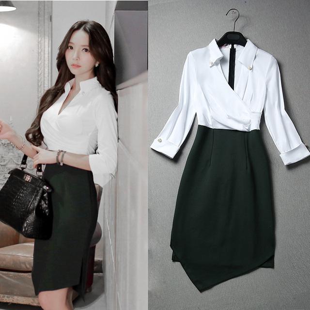 New coreano primavera outono mulheres trabalho de escritório dress assimétrico turn-down collar patchwork cintura alta vestidos plus size para meninas