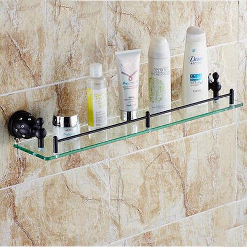 Wholesale And Retail Wall Mounted Bathroom Shelf Square Glass Tier Oil Rubbed Bronze Crystal Single Bath Shelf