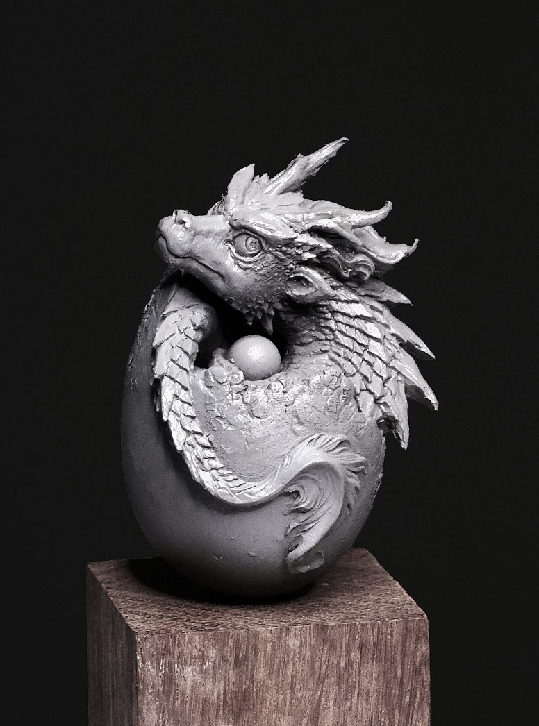 Q Versin Resin Model Kits Dragon Egg, Chinese Dragon Baby  Unpainted  PCW01