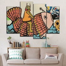 Modern On Canvas Print Type And The Wall Decorative Japanese Style Retro Painting 4 Pcs Modular Little Girl Fish Picture