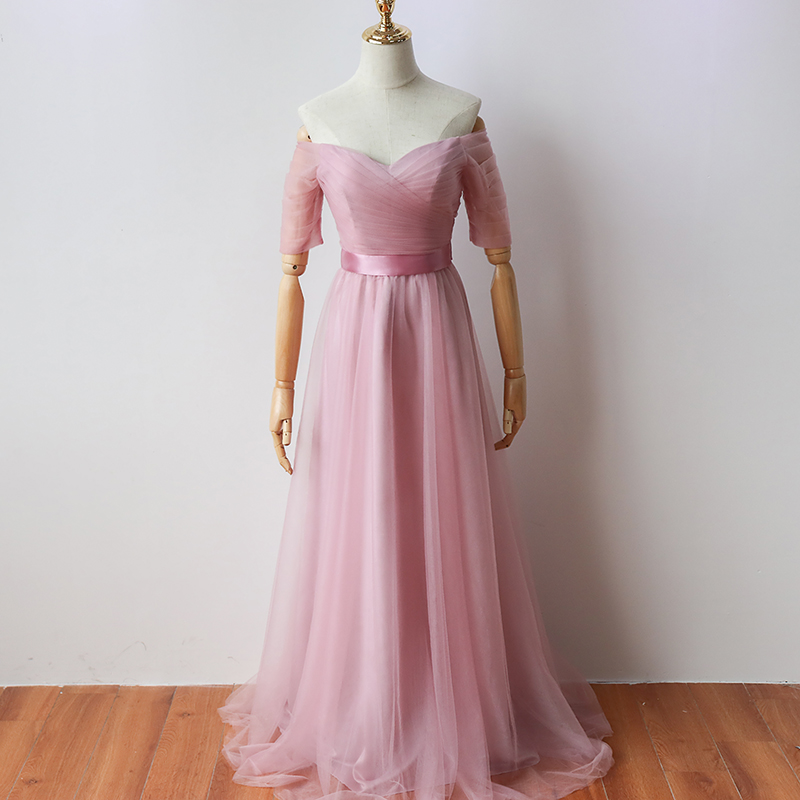 Red Bean Pink  Floor-Length Long Party Dress Elegant Women for Wedding Bridesmaid