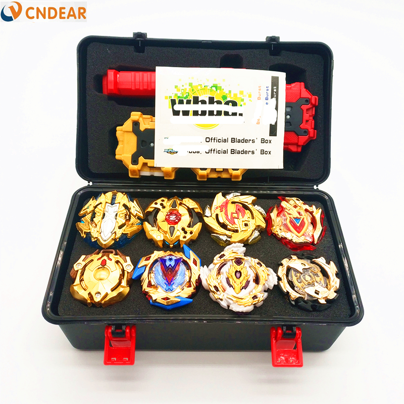 Gold style spin top set Metal Fusion Storage Box Top spin top burst  blade Launcher toy Toys For Children boy