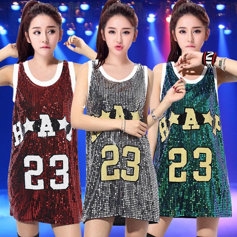 2018 New Jazz Dance Tops Hip Hop Dance Dress Sequin Vest Cheerleading Dancing Costumes Loose T-Shirt Performance Wear DN1536