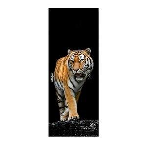 Image 5 - Adesivi Per porte 3D Giraffa Elefante Tigre Animale Cavallo Soggiorno Porte Decorativa Poster Impermeabile di Arte Carta Da Parati per la Camera Da Letto