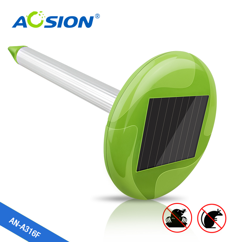 2X livraison gratuite Aosion extérieur jardin utiliser étanche solaire ultrasons taupe rongeur gassault répulsif avec LEDlight