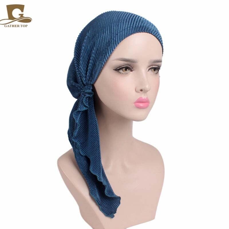 d51a09f7a155 Nouvelle mode femmes à volants foulard Bonnet Chimio Turban Tête Foulards  Pré Noué Chapeaux Bandana Tichel pour Cancer Turbante dans Cheveux  Accessoires de ...