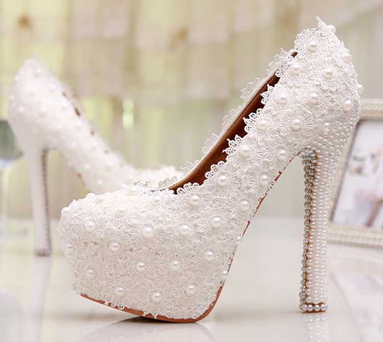 Custom Made Sweetness White Flower Lace Platforms Pearl Wedding Shoes Bridal font b Dress b font