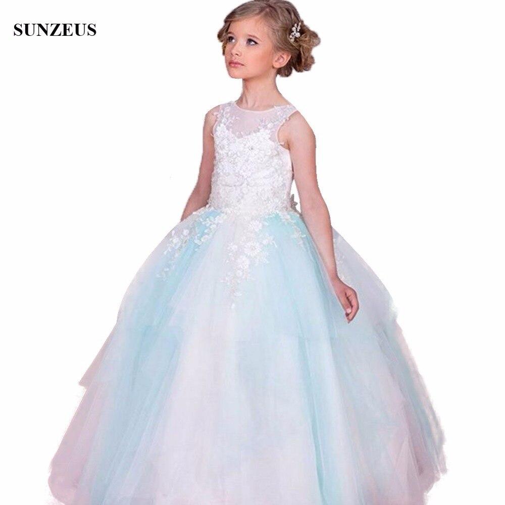Ball Gown Tank Appliques Flower Girl Dress Sleeveless Long Kids ...