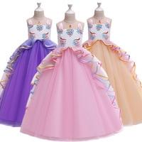 2019 big children's long dress colorful mesh cake fluffy dress unicorn princess dress festival performance dress
