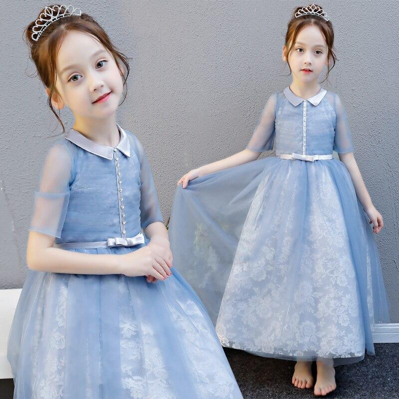 Bébé fille été élégant luxe bleu dentelle Piano longue robe pour Teens3 5 7 9 13 15 fille mariage anniversaire fête robe de bal robes
